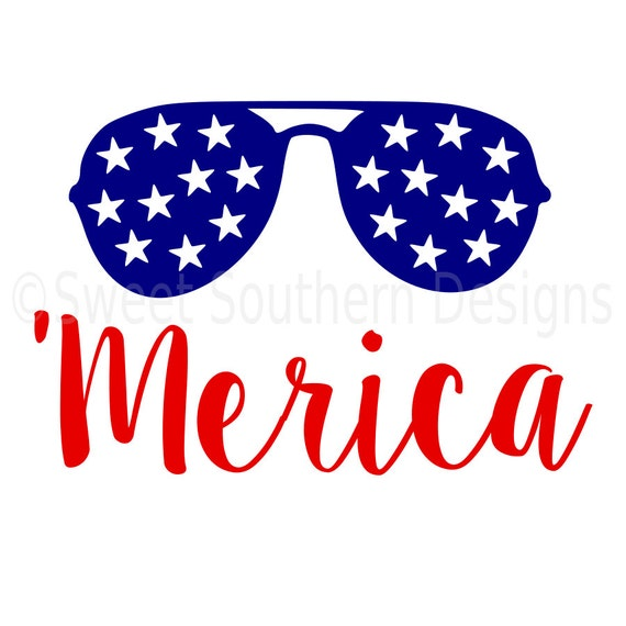 Download Merica with sunglasses fourth of july SVG instant download
