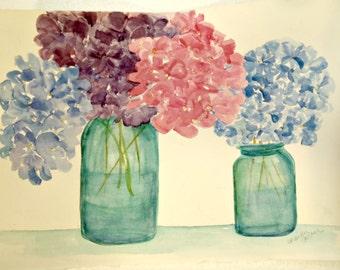 Hydrangeas watercolor painting original, aqua canning jars, hydrangea flower painting 11 x 14 Sharon Foster Art, Farmhouse decor