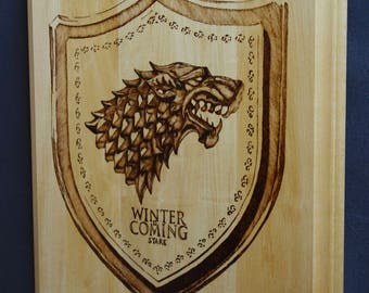 Game of Thrones | Winter Is Coming | Stark wall plaque, woodburned