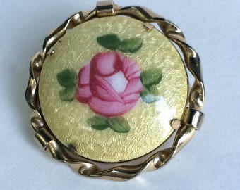 Yellow Guilloche Brooch Hand Painted Rose