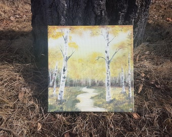 """12"""" by 12"""" Original Landscape Painting northern Ontario canadian landscape birch trees sunset autumn fall yellow creek stream gift"""