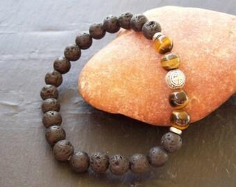 Mens bracelet, Men, Gift, Mens bracelet, Man's bracelet, Onyx bracelet, Lava rock bracelet, Protection bracelet, Sterling silver bracelet