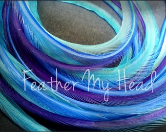 16 Long Feather Hair Extensions 9-12 In (23-28cm) Premium Whiting - Dancing Water - Blue Purple - No Beads