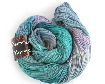 Pure yak handdyed yarn, 100% yak sportweight knitting crochet Perran Yarns Moonscape blue purple variegated yarn skein free knitting pattern