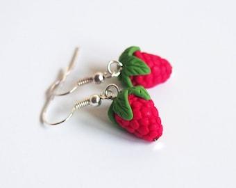 Raspberry Earrings food earrings ( red earrings fruit earrings fake food summer earrings miniature raspberry mini food)