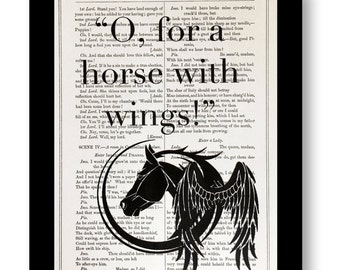 William Shakespeare Book Page Quote, Oh, For A Horse With Wings, Shakespeare Play Quote Cymbeline  7x10 Vintage Shakespeare Book Pages
