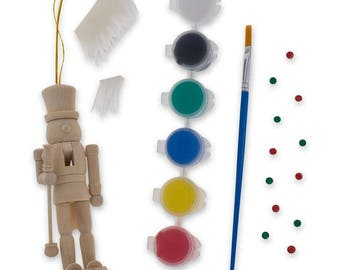 Nutcracker kit etsy 5 unpainted blank wooden nutcracker with paint and fur craft kit solutioingenieria Image collections