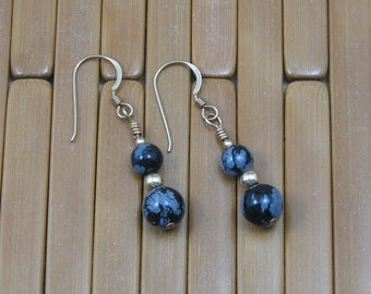 Snowflake Obsidian Earrings on Gold Filled Ear Wires, Natural Stone Earrings, Stone Jewelry, Black and Gray Earrings, Black Obsidian Jewelry