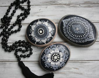 Set of 3 black and white hand painted glow in the dark mandala stones, one of a kind Zen decor, luminescent painted rock #82