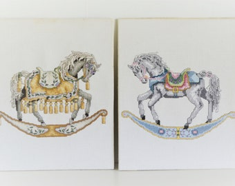 "Vintage Rocking Horse Cross Stitch Completed Art Teresa Wentzler Set of 2 "" Trotter"" and "" Dancer"""