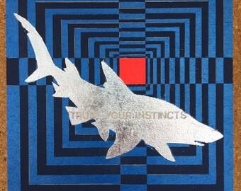 Shark • Trust Your Instincts • Animal • Optical Illusion • Graphic Art • Motivational • Contemporary Art • Modern Art • Metallic • Silver