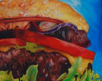 Cheeseburger oil painting- Burger Food Wall Art- Kitchen Restaurant wall decor-  burger food painting on canvas