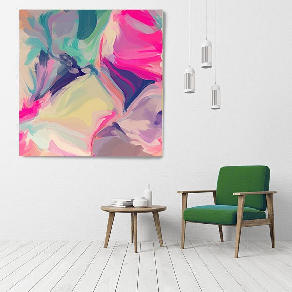 """Fantastic Tomorrow, Art Abstract Print on Canvas up to 50"""", Green Pink Yellow Abstract Canvas Art Print, Sunny City by Irena Orlov"""