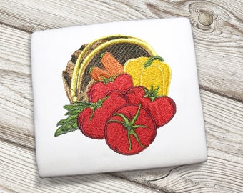 Fall Harvest Basket of Vegetables (Tomatoes, Carrots, Bell Peppers) Embroidery Design/ Instant Download for Embroidery Machines