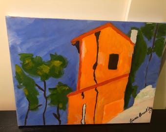 Orange House with Trees