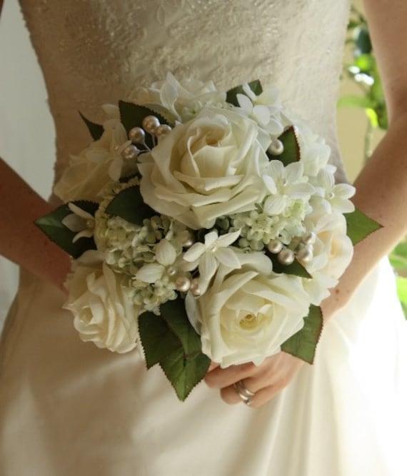 Winter White Wedding Flowers: White Wedding Bouquet Roses Pearls Stephanotis Winter