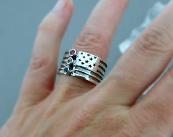 American Flag Ring - Wide Band Ring - Patriotic Ring - Red White and Blue - Sterling Silver Ring - Made in the USA