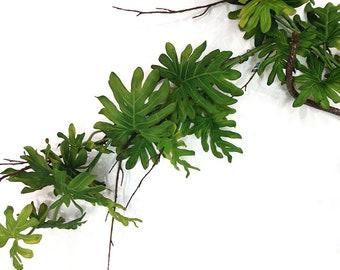 Monstera garland, 6', faux, tropical garland, philodendron garland, philodendron plant, monstera plant, tropical decor, jungalow, fake philo