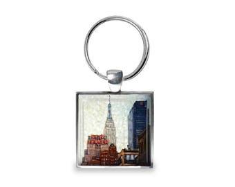 New Yorker Hotel - Glass Photo Keychain - Handmade