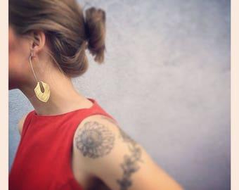 Brass sheild earrings with long silver hoop