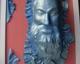 OOAK Bearded Man made from salvaged leather in a salvaged frame.