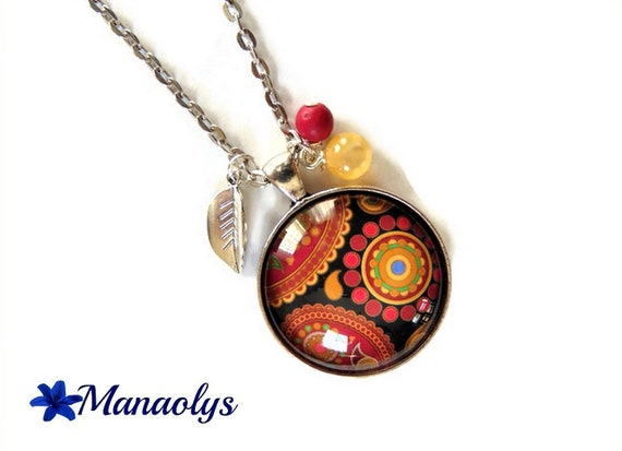 Necklace paisley, Paisley pattern Burgundy, black, yellow, glass cabochon silver plated chain