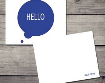 Why Hello Stationery - Blue - Customized