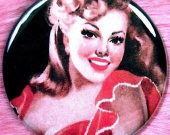 Vintage Pinup Girl - Pocket Mirror - Spanish Senorita - Gypsy Flamenco Dancer
