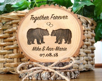 Bear Wedding Cake Topper, Rustic Wood Cake Topper, Custom Personalized Wedding Cake Topper, Wood Cake Top, Hunting Bears