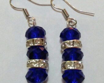 Blue with Silver Diamond Accent Earrings