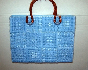 Hand Made Plastic Canvas Purse with Rattan Handles and Liner
