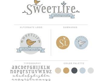 Mini Branding Package, Premade Newborn Photography Logo, Marketing Kit, Branding Set, Brand Board bp62
