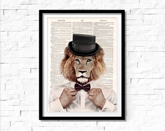 Lion Art Print, lion with Suit, lion wall art, vintage dictionary page book art print.