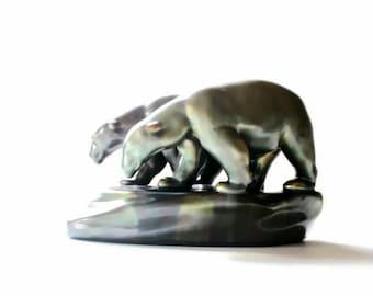 Hungarian Porcelain Animal Figurine Polar Bear Zsolnay Art Pottery Bear