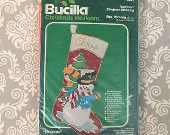Bucilla Felt Christmas Stocking Kit - Mr. Frosty - Vintage
