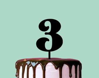 Birthday Cake Topper, Number 3, Cake Topper, Anniversary, Birthday
