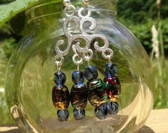Two Metallic Beaded Dangle Earrings (E63)