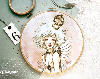 STEAMPUNK BIRDCAGE - Print Embroidery Hoop Frame