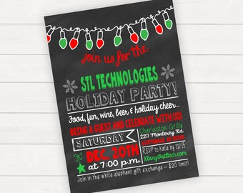 Christmas party invitation, Christmas party invite, Holiday party invitation, Christmas office party invitation, Chalkboard Christmas invite