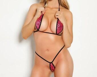 Bitsy's Bikinis Pink Sequin Black String Teardrop Bikini Extreme Micro G-String