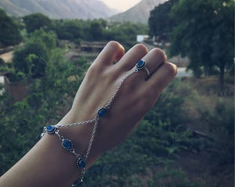 Slave Jadi Bracelet classic egyptian Queen Ring Adjustable hand Chain Design Hath Phul, argent colour