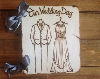 Wedding small scrapbook • personalized with wedding gown & tuxedo • artistic • engraved names and weddibg date • album