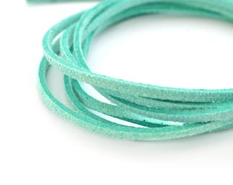 50cm cord 3mm flat suede Mint Green