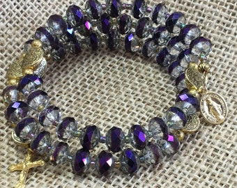 Purple and Gold Wrap Rosary bracelet on memory wire