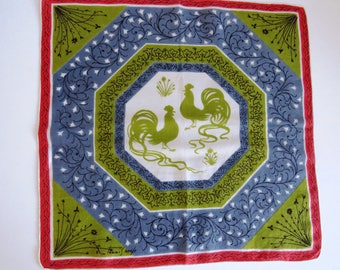 Vintage Tammis Keefe Handkerchief - Strutting Roosters - Olive Green Blue Persimmon - Designer Signed Hanky Hankie - Collectible - Gift