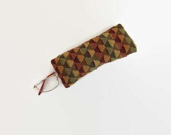 Brown Green Maroon Geometric Triangle Design Upcycled Eyeglass Case Sunglasses Holder