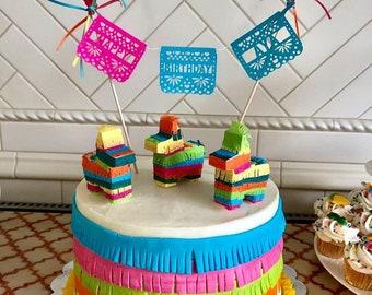 Mini Pinata Cake Topper, Cinco de Mayo, Fiesta Birthday Parties, Fiesta Wedding, Mexican Birthday, Fiesta Decoration, Wedding Cake Decor