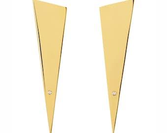 Gold triangle earrings - Gold spike earrings - Statement earrings - Minimal earrings -Anniversary gift - Gifts for mom - Wife gift
