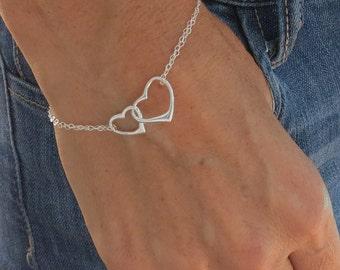 Interlocking Hearts Bracelet, Friendship Bracelet, Silver Bracelet, Heart Bracelet, Dainty Bracelet, Bridesmaid Bracelet, Charm Bracelet