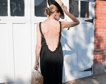 Black Open Back Dress - Long Bohemian Backless Dress - Long Beach Cover Up  - Bohemian Backless Beach Dress -  Swimsuit Cover Up